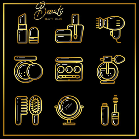 Set of beauty cosmetics icons drawn in gold lines on a black background. Vector illustration for use on booklets, brochures, flyers, business beauty salons and hairdressers.
