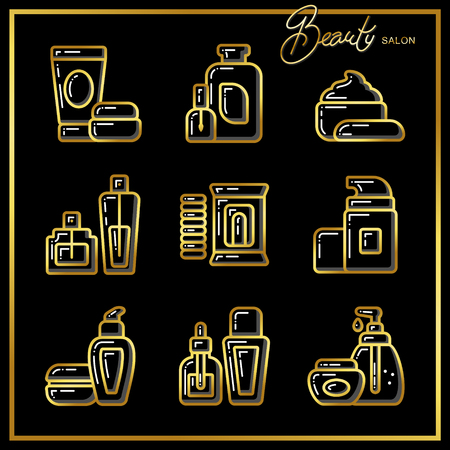 cleanliness: Set of beauty cosmetic tubes, bottles, jars icons drawn in gold lines on a black background. Vector illustration for use on booklets, brochures, flyers, business beauty salons and hairdressers. Illustration