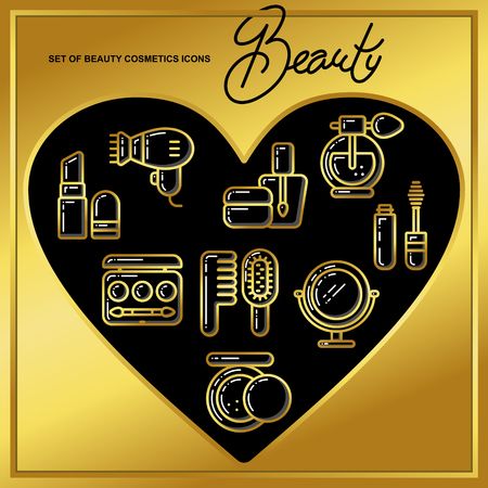 Set of beauty cosmetics icons drawn in gold lines on a black heart. Vector illustration for use on booklets, brochures, flyers, business beauty salons and hairdressers.