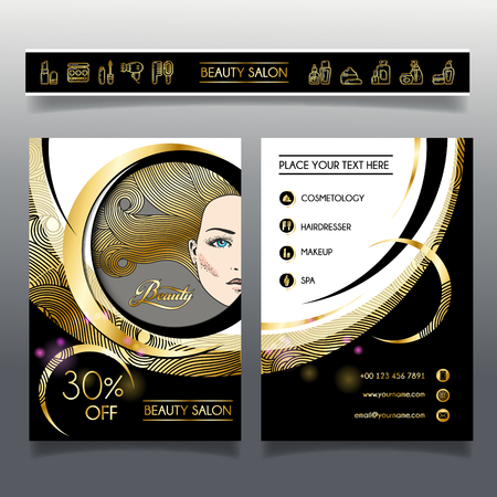 Business brochure template for beauty salon and hairdressing shop. Vector illustration face of girl with golden hair and cosmetics icons for use on booklets, flyers, business card. Ilustração