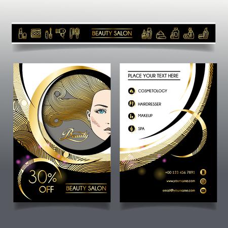Business Broschüre Vorlage für Schönheitssalon und Friseurladen. Vektor-Illustration Gesicht des Mädchens mit goldenen Haaren und Kosmetik Symbole für den Einsatz auf Broschüren, Flyer, Visitenkarte. Standard-Bild - 80783744