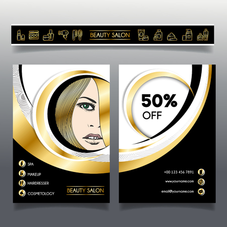 salon and spa: Template business brochure for beauty salon and hairdressing shop. Vector illustration face of girl and cosmetics icons for use on booklets, flyers, business card, discount voucher.