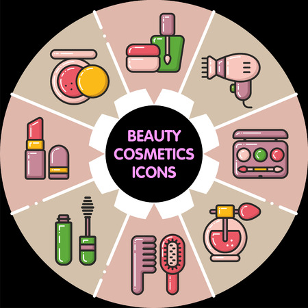 Infographic set of beauty cosmetic icons Illustration