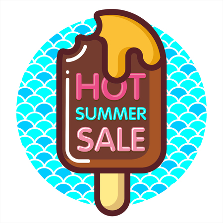 Template summer sale discount banner with ice-cream and sea. Summer time art design, travel. Vector illustration for wallpaper, flyers, invitation, posters, brochure, special offer voucher.