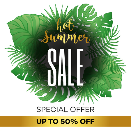 Template summer sale discount banner with tropical palm leaves. Summer time art design, travel. Vector illustration for wallpaper, flyers, invitation, posters, brochure, special offer voucher. Illustration