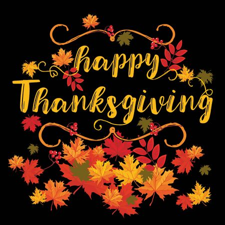 Hand drawn thanksgiving greeting card with autumn leaves and rowan on a black background. Vector illustration for flyers, posters, brochures, greeting cards, banners. 向量圖像
