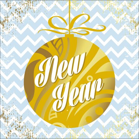 Golden holiday ball with inscription-New Year-blue vintage patterned background. Vector illustration for flyers, posters, brochures, gift tags, banners, invitation, postcard.