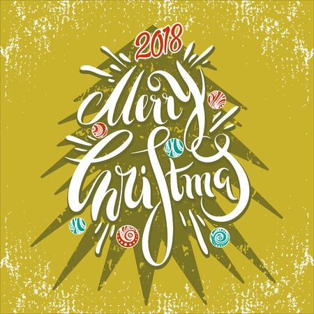 Hand drawn Merry Christmas and New Year greeting card with a Christmas tree and festive balls in vintage style. Vector illustration for flyers, posters, brochures, greeting cards, invitation.