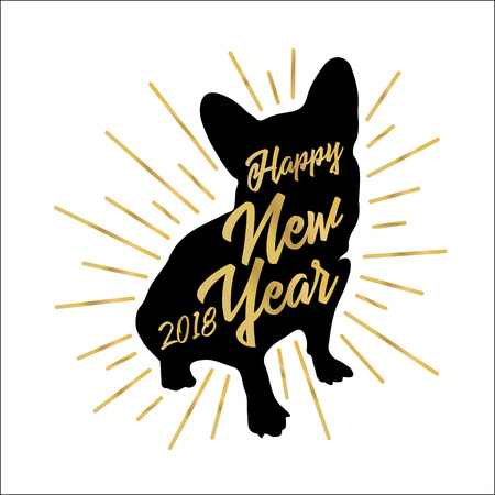 Greeting card with black silhouette of the dog-symbol of 2018-with the golden inscription Happy New Year on a white background. Retro style. Vector illustration for flyers, posters, banners.