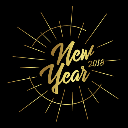 Holiday greetings quote-New Year 2018. Gold lettering with rays on a black background. Retro style. Vector illustration for flyers, posters, brochures, gift tags, invitation, greeting cards, postcard.