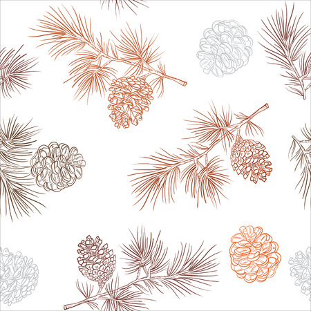 Merry Christmas and happy New Year background. Seamless pattern with fir cones. Vector illustration for flyers, posters, brochures, packages of gifts, banners. 向量圖像
