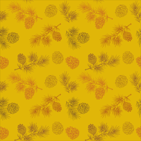 Vector seamless pattern with fir cones on a gold background. Great for Christmas and New year cards, flyers, posters, brochures, packages of gifts, banners. 向量圖像