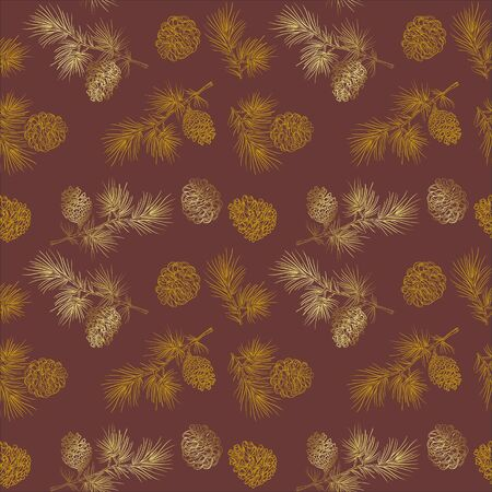 Vector seamless pattern with gold fir cones on a brown background. Great for Christmas and New year cards, flyers, posters, brochures, packages of gifts, banners.