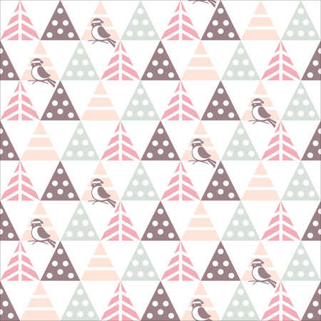 Vector seamless pattern with decorative Christmas trees and bullfinch on a white background. Great for Christmas and New year cards, flyers, posters, brochures, packages of gifts, banners. 向量圖像