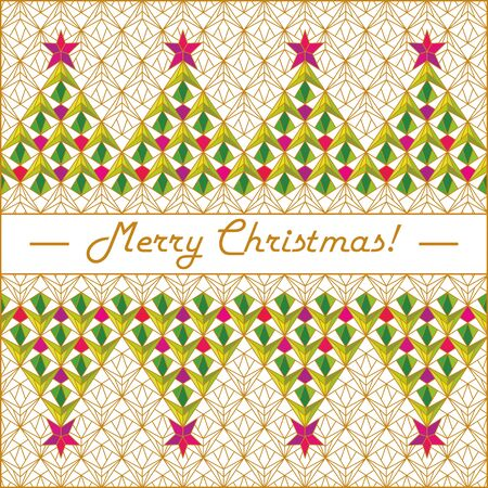 Merry Christmas and New Year greeting card. Symbols of New Year trees on a white background with a gold pattern in the form of a stained glass.Vector illustration for posters, invitation, postcard.