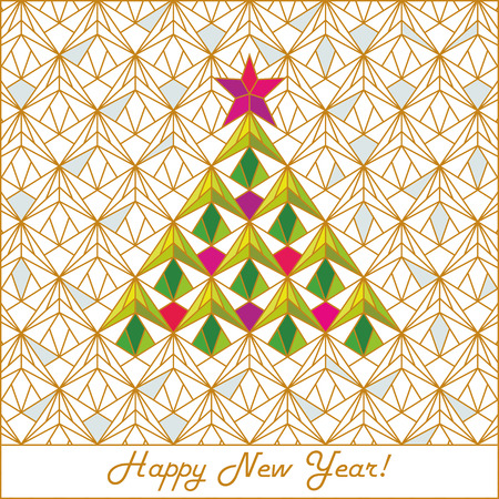 Merry Christmas and New Year greeting card. Symbol of New Year tree on a white background with a gold pattern in the form of a stained glass.Vector illustration for posters, invitation, postcard. 向量圖像