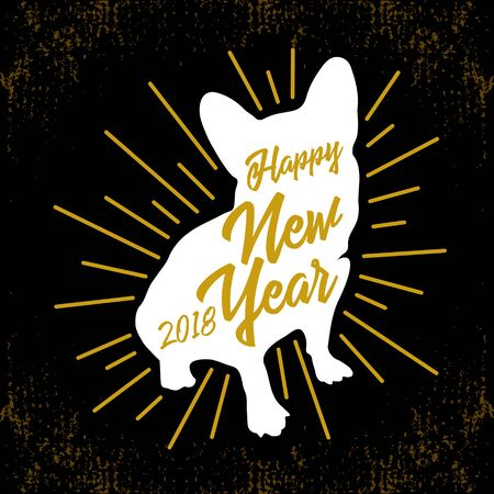 Greeting card with white silhouette of the dog-symbol of 2018-with the golden inscription Happy New Year on a black grunge background. Retro style. Vector illustration for flyers, posters, banners.