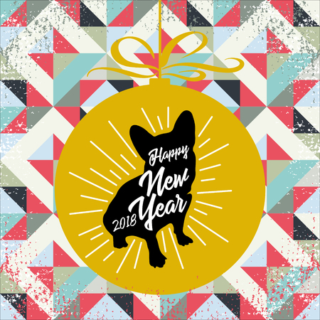 Greeting card with black silhouette of the dog-symbol of 2018-with the golden ball and inscription Happy New Year on a grunge background. Retro style. Vector illustration for flyers, posters, banners. 向量圖像