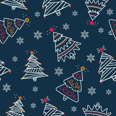 Vector seamless pattern with decorative Christmas trees on a blue background. Great for Christmas and New year cards, flyers, posters, brochures, packages of gifts, banners.