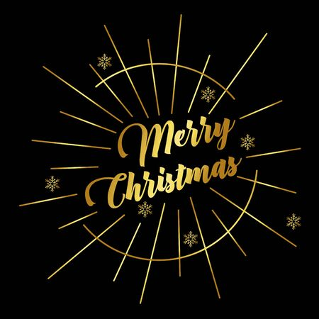 Holiday greetings quote-Merry Christmas. Gold lettering with rays on a black background. Retro style. Vector illustration for flyers, posters, brochures, gift tags, invitation, greeting cards, postcard. 向量圖像