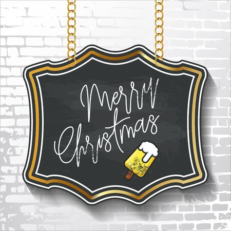 Vintage style lettering-Merry Christmas-on black chalkboard background with ice cream. Vector illustration for flyers, posters, brochures, greeting cards.