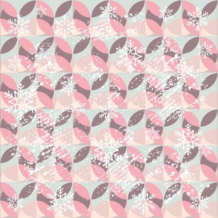 Holiday vintage patterned background with snowflakes, ornaments. Great for Christmas and New Year cards, flyers, posters, brochures, banners. 向量圖像