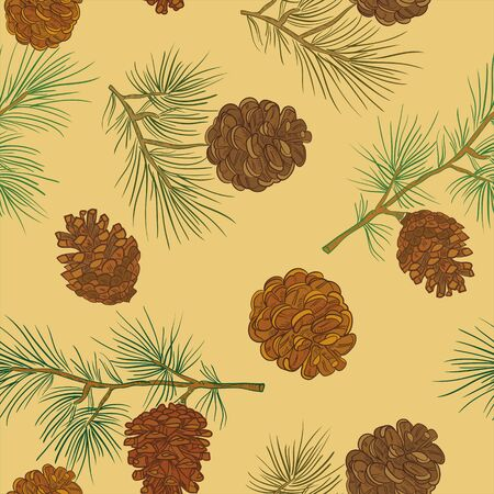 Merry Christmas and happy New Year background. Seamless pattern with fir cones. Vector illustration for flyers, posters, brochures, packages of gifts, banners, packages.