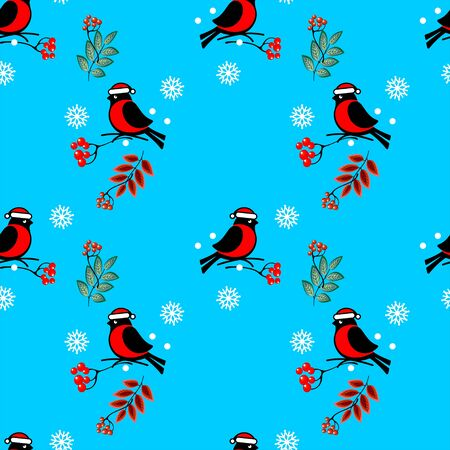 Vector seamless pattern with the image of winter, bullfinches sitting on the branches of mountain ash, snowflakes on a blue background. Great for Christmas and New year cards, packages of gifts.