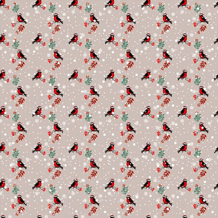 Vector seamless pattern with the image of winter, bullfinches sitting on the branches of mountain ash, snowflakes on a lilac background. Great for Christmas and New year cards, packages of gifts. 向量圖像