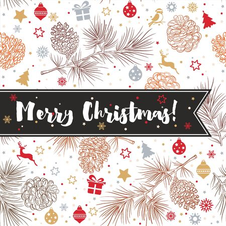 Merry Christmas and happy New Year background with fir cones, toys, bullfinches, gifts, deer, stars, snowflakes, confetti. Vector illustration for greeting card, flyers, posters, packages of gifts. 向量圖像