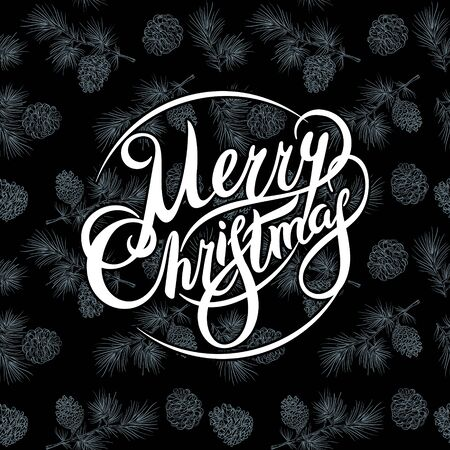 Unique vintage style handwritten lettering-Merry Christmas- on black chalkboard. Holiday greetings quote. Great for Christmas and New year cards, flyers, posters, brochures, gift tags, invitation. 向量圖像
