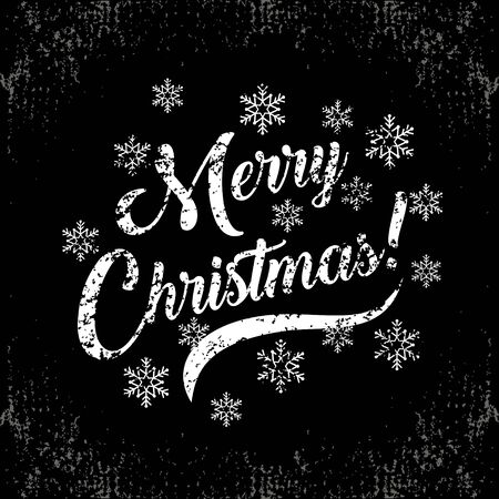 Unique vintage style handwritten lettering-Merry Christmas-with a snowflakes on black chalkboard. Holiday greetings quote. Great for Christmas and New year cards, flyers, posters, brochures, gift tags, invitation. 向量圖像