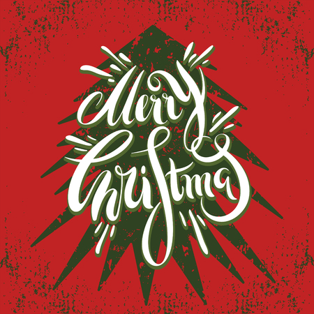 Hand drawn Merry Christmas and New Year greeting card with a Christmas tree in vintage style. Vector illustration for flyers, posters, brochures, greeting cards, invitation.