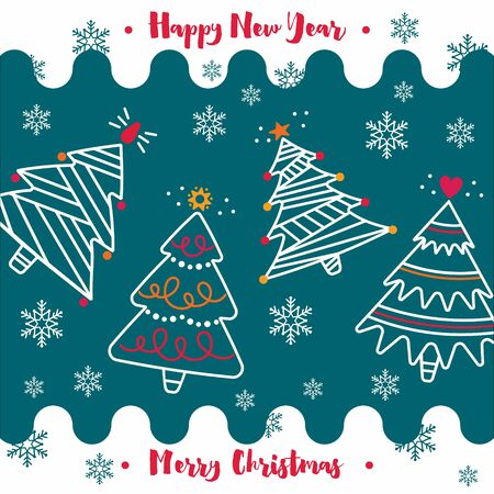 Merry Christmas and New Year greeting card on a blue background with Christmas trees, snowflakes, ornaments. Vector illustration for flyers, posters, brochures, invitation, postcard. 向量圖像