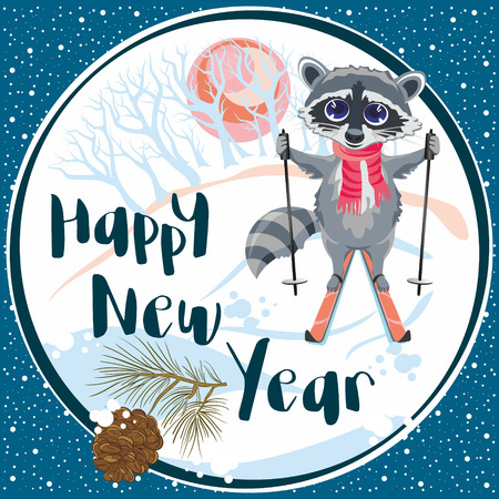 Greeting card with a raccoon riding on skis in winter forest with a pine cone. Vector illustration great for Christmas and New year cards, flyers, posters, brochures, gift tags, banners, postcard. 向量圖像