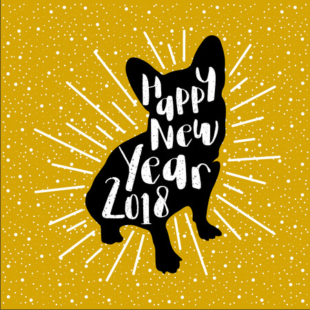 Greeting card with black silhouette of the dog-symbol of 2018-with the white inscription Happy New Year on a gold background. Retro style. Vector illustration for flyers, posters, banners. 向量圖像