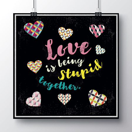 Festive poster for Valentines day with a texture heart and hand-lettering. Handwritten script sign or slogan with heart. 向量圖像