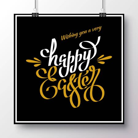 Poster with unique white and gold handwritten lettering Happy Easter on a black background.