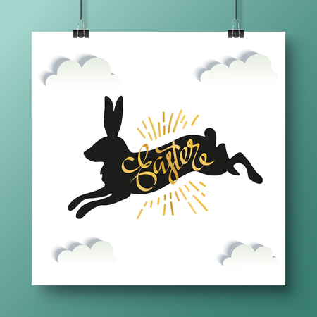 Poster with unique handwritten lettering Happy Easter and black bunny on a white background with clouds.