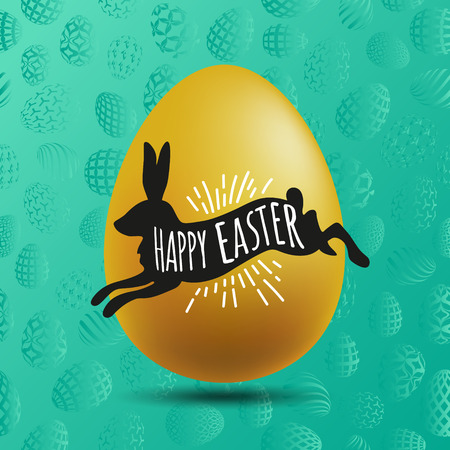 Silhouette of a black rabbit with a handwritting happy Easter and gold egg on the turquoise background.