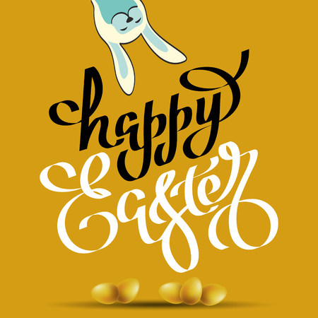 Handwritten phrase of happy easter and with a silhouette of a rabbit. Vector illustration for wallpaper, flyers, invitation, posters, brochure, greeting card, banner. 向量圖像