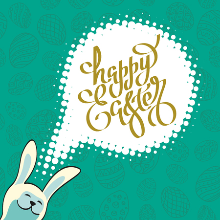 hand drawn lettering Happy Easter with eggs and rabbit on turquoise background