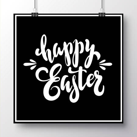 Poster with unique white handwritten lettering Happy Easter on a black background