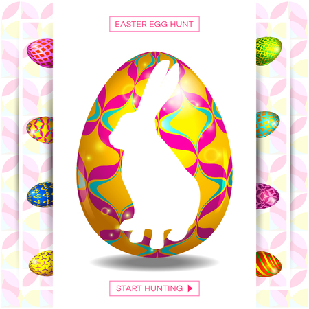Easter egg and bunny sale banner background template.  Vector illustration for wallpaper, flyers, invitation, posters, brochure, discount voucher, banner.