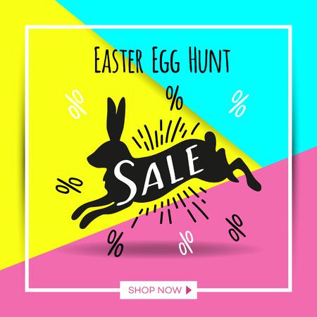 Easter Bunny sale banner background template.  Vector illustration for wallpaper, flyers, invitation, posters, brochure, discount voucher, banner.