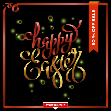 Easter egg sale banner background template. Hand-drawn lettering red and gold Happy Easter on a black background with a red ribbon.