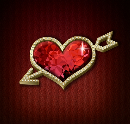 Golden heart with ruby and diamonds photo