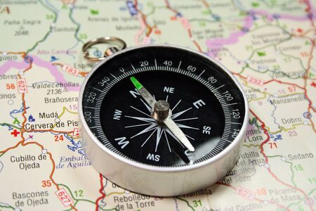 gps: compass on a road map