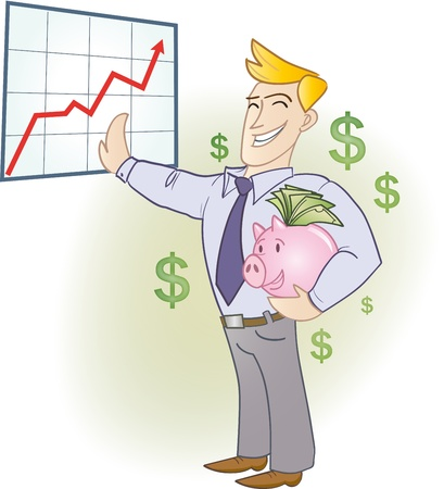 foreign currency: Businessman holding a piggy bank full of banknotes Illustration