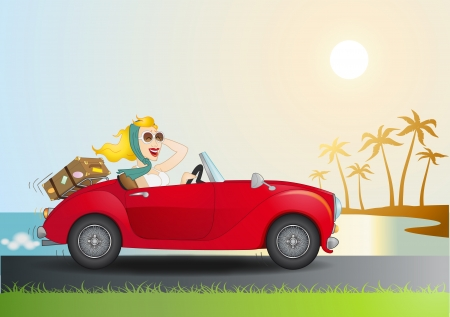 convertible car: Women driving a red car with a tropical background